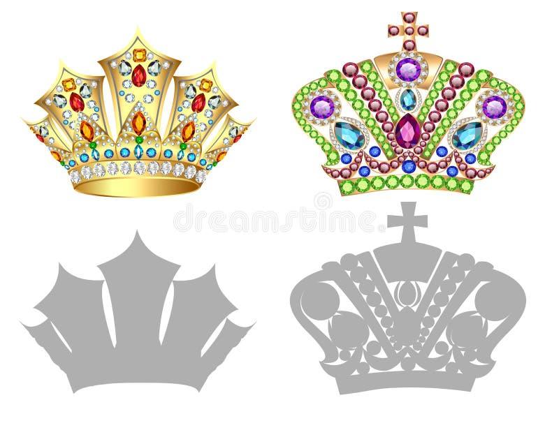套金黄冠、冠状头饰、王冠和剪影 库存例证