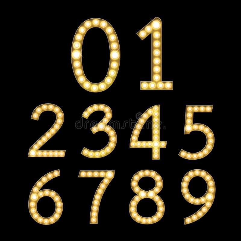 套金黄百老汇电灯泡数字 向量例证