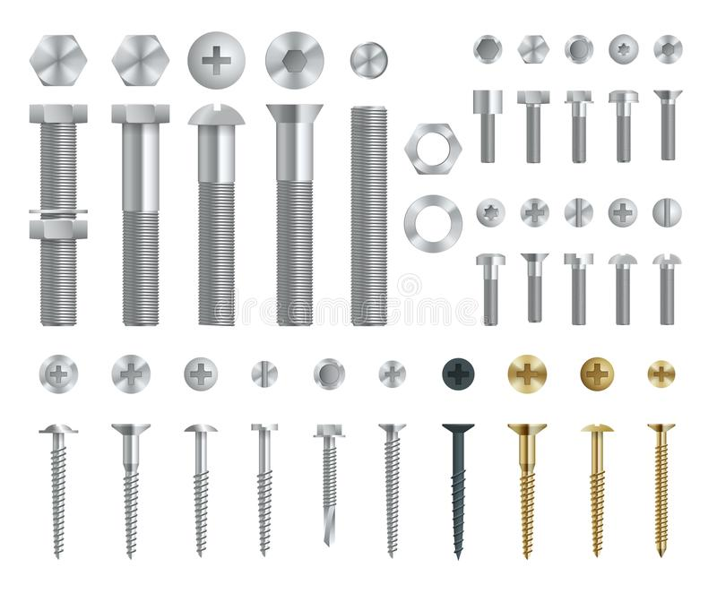 套钢螺丝、螺栓、坚果和铆钉 顶面和侧视图 被隔绝的传染媒介元素 皇族释放例证