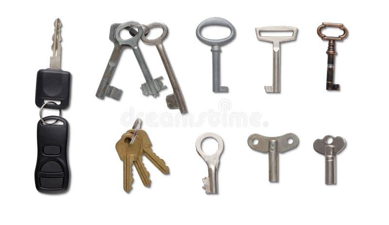 套钥匙被隔绝在白色背景 库存照片