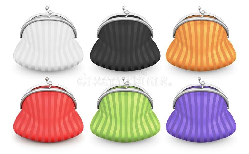 套钱包在白色背景的不同的颜色 库存例证