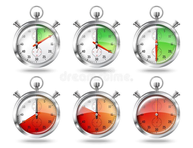 套银色明亮的秒表时钟间隔时间, 向量例证