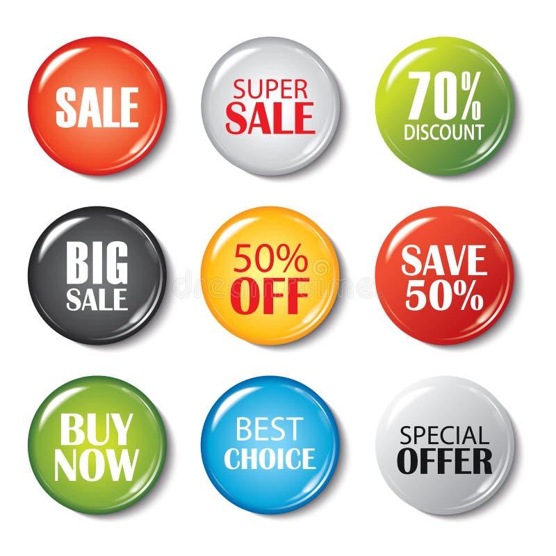 套销售按钮和徽章 产品促进 大销售, sp 库存例证