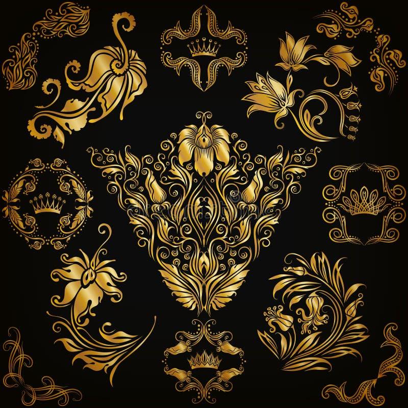 套锦缎装饰品 皇族释放例证
