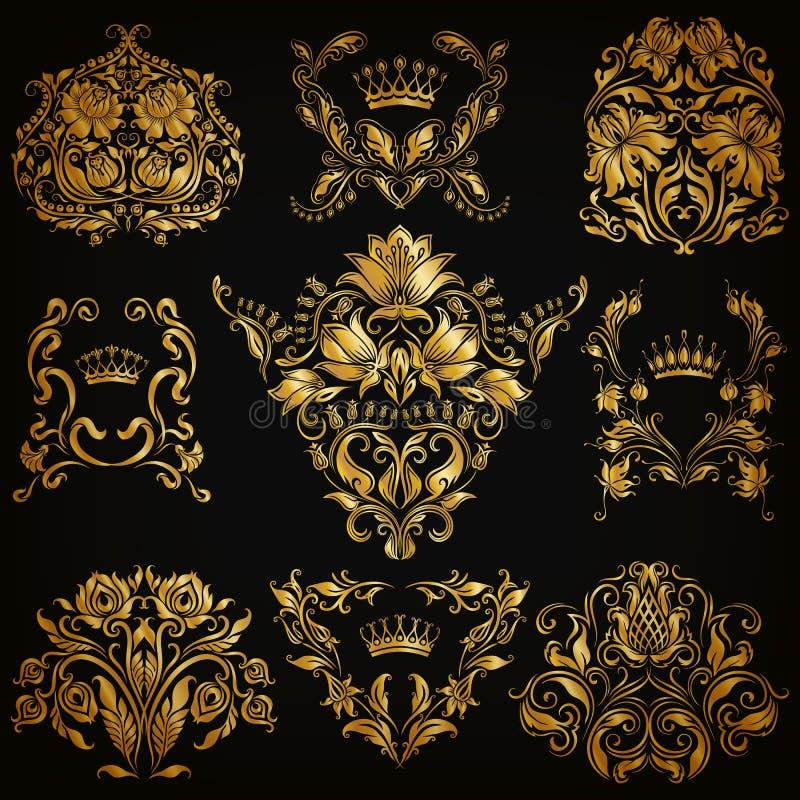 套锦缎装饰品 向量例证