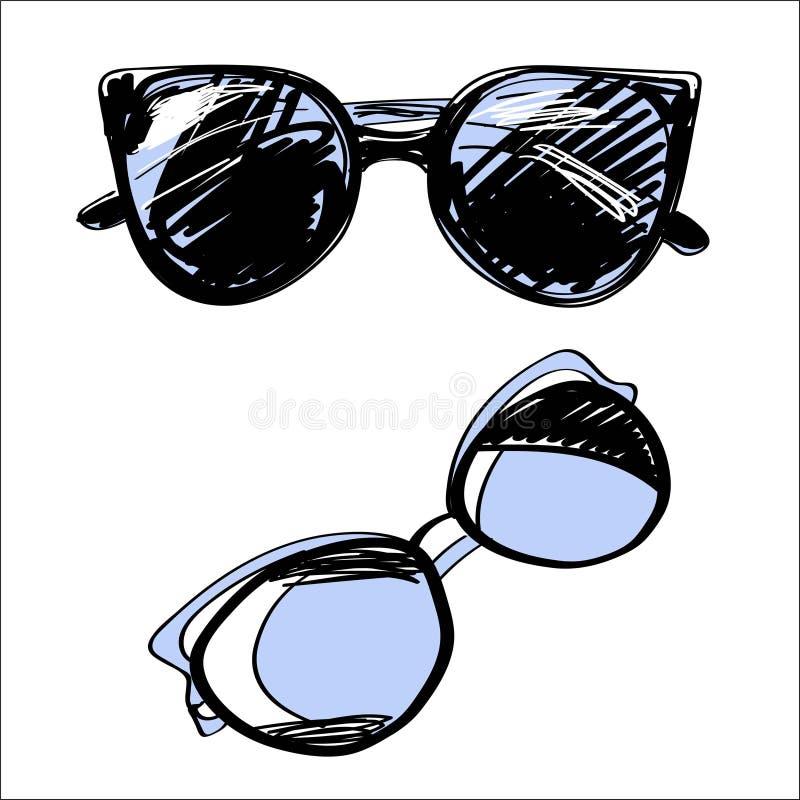 套镜片和太阳镜 时尚葡萄酒元素手拉的收藏 向量例证