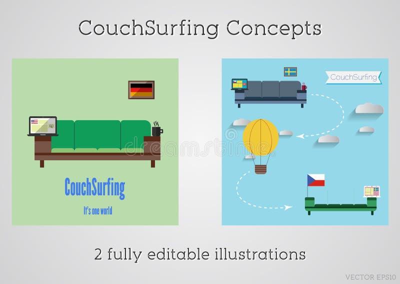 套长沙发冲浪的概念 旅行Infographic 分享您的沙发 2015年 旅行全世界免费 能使用作为海报 库存例证