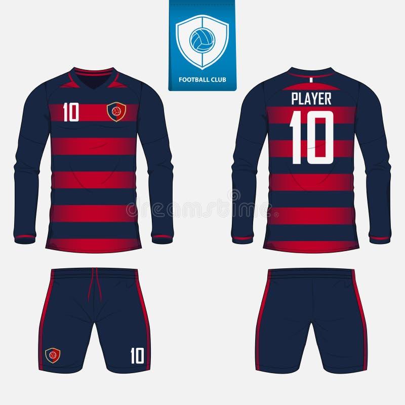 套长的袖子足球球衣或橄榄球橄榄球俱乐部的成套工具模板 橄榄球衬衣嘲笑 前面和后面看法足球联合国 库存例证