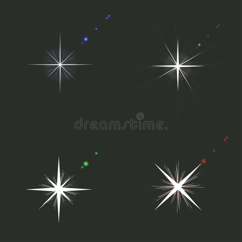 套闪闪发光光 发光的光线影响用不同的颜色 库存例证