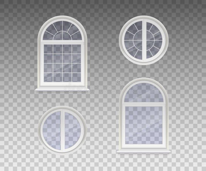 套闭合在周围和与透明玻璃的被成拱形的窗口在一个白色框架 隔绝在透明背景 向量 向量例证