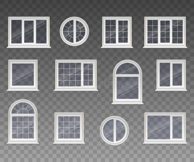 套闭合的正方形,长方形,在周围和被成拱形的窗口与透明玻璃在一个白色框架 隔绝在透明bac 向量例证