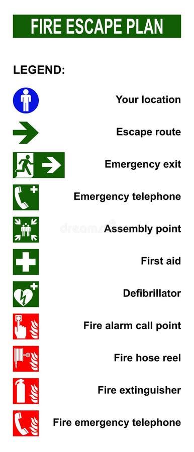 套防火梯撤离计划的标志 免版税库存图片