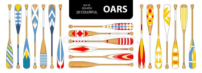 套隔绝在红色,蓝色,黄色口气的20支逗人喜爱的五颜六色的桨 库存例证