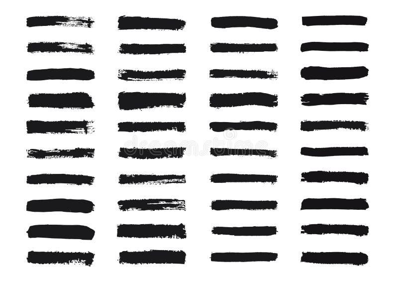 套难看的东西刷子冲程 被绘的条纹收藏 贷方手拉的纹理 在白色背景隔绝的线 皇族释放例证