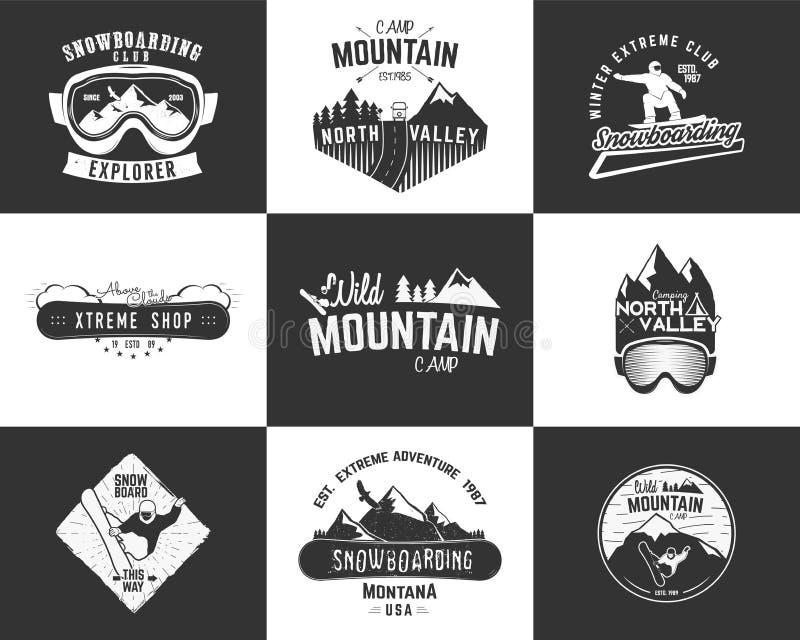 套雪板运动极端商标和标签模板 冬天雪板体育商店徽章,象征 山冒险 库存例证