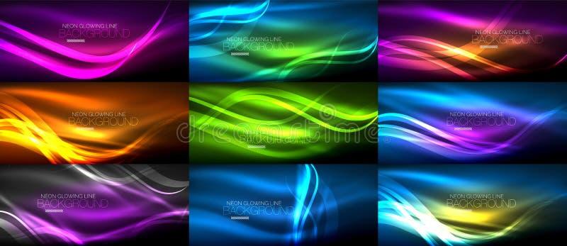 套霓虹光滑的光发光的波浪在黑暗,抽象背景中 向量例证