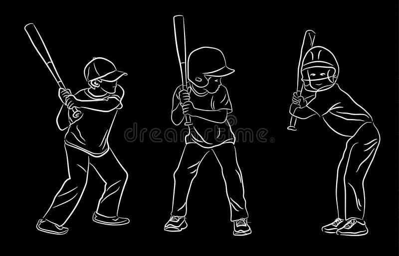 套青年棒球打击位矢 向量例证