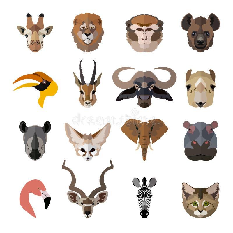 套非洲动物面孔象 平面 向量例证