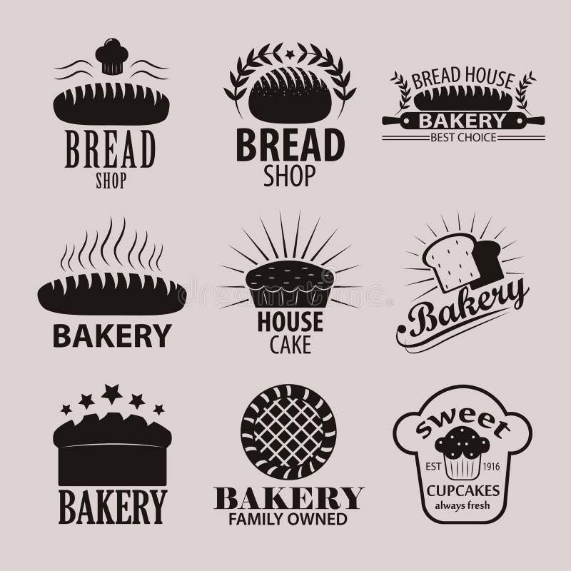 套面包店和面包商店商标、标签、徽章和设计元素 库存例证