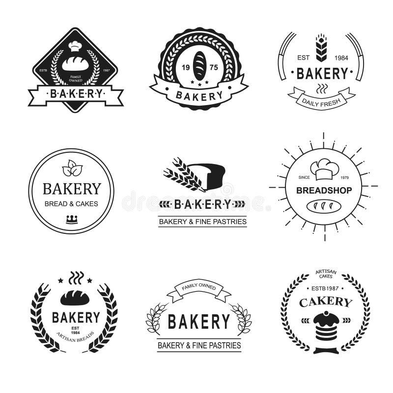 套面包店商标、标签、徽章和设计 库存例证