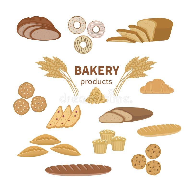 套面包店新鲜面包和酥皮点心 食物切的大面包,法国长方形宝石,黑麦面包,麦子分支的汇集和商店元素 向量例证