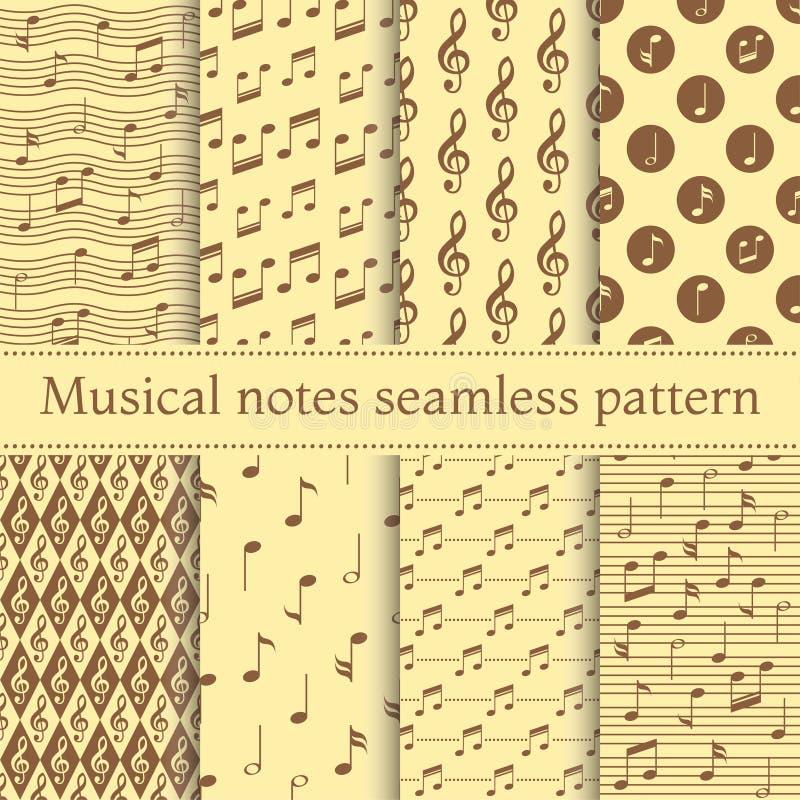 套音符无缝的样式 库存例证