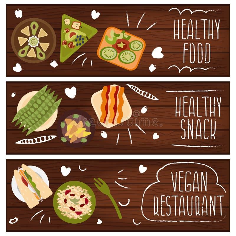 套题材健康素食主义者食物的横幅 向量我 皇族释放例证