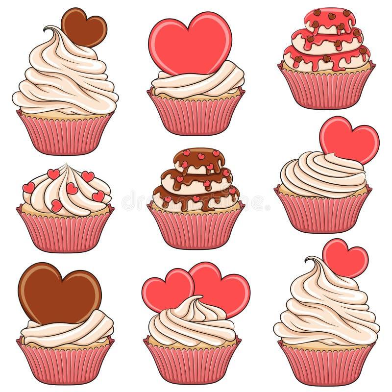 套颜色与心脏的传染媒介杯形蛋糕 库存例证