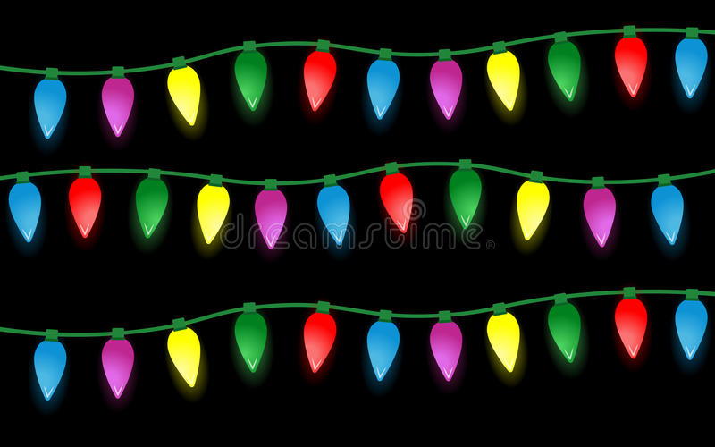 套颜色圣诞灯电灯泡 库存图片
