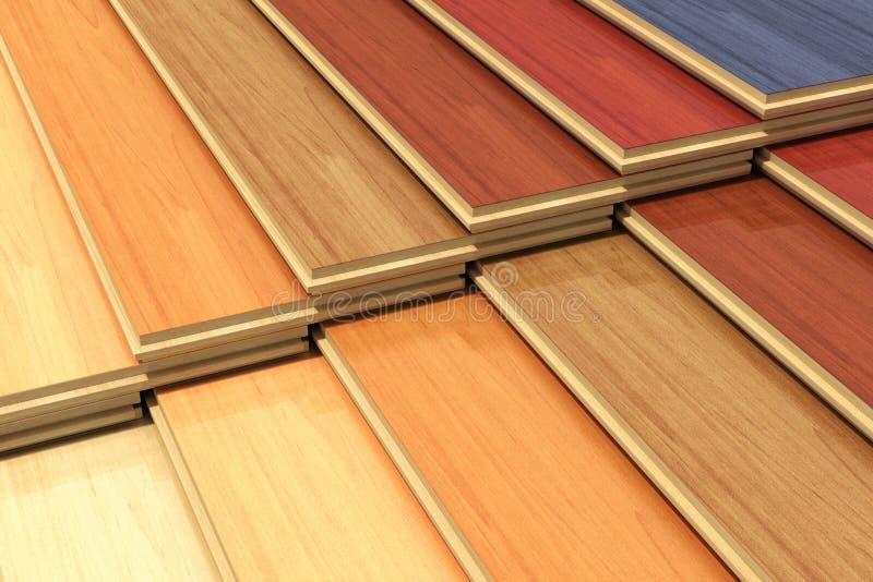 套颜色木被碾压的建筑板条 库存例证