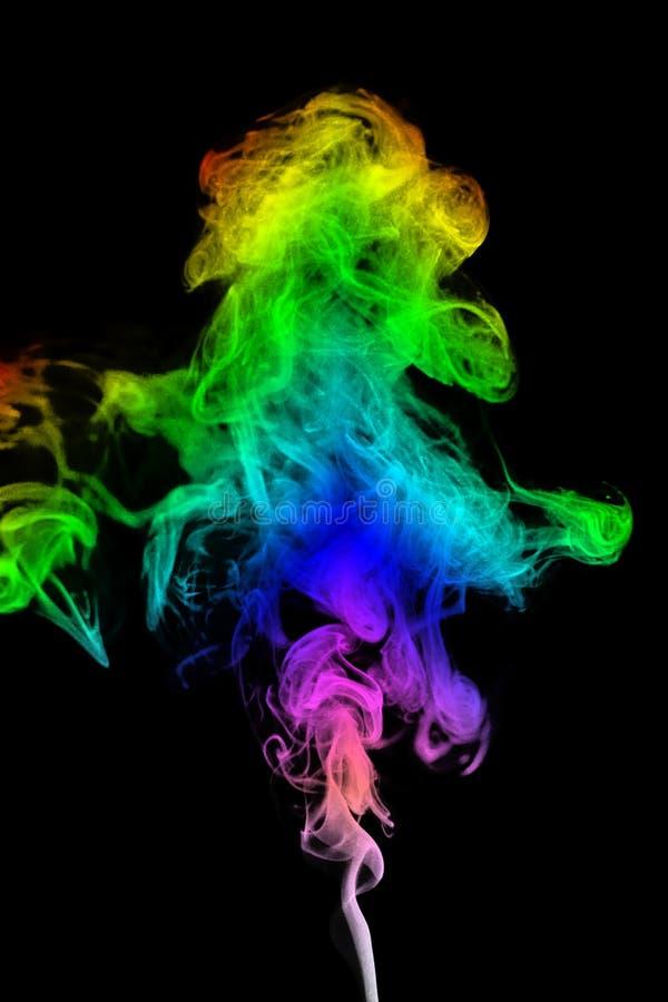 套颜色烟漩涡,摘要,背景 被隔绝的黑色 库存照片