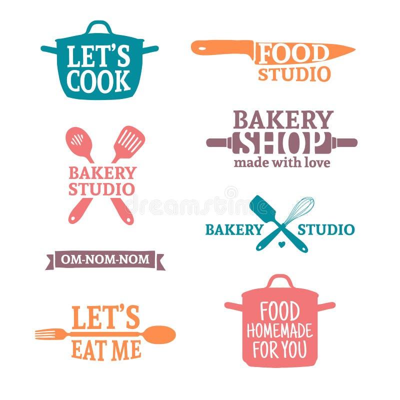 套颜色葡萄酒减速火箭的手工制造徽章,标签和商标元素,面包店的减速火箭的标志购物,烹调俱乐部,食物 向量例证