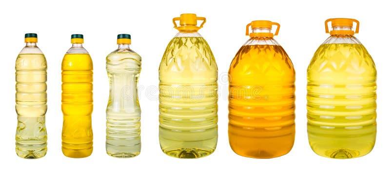 套额外处女橄榄油和向日葵种油在wh的瓶子 库存照片