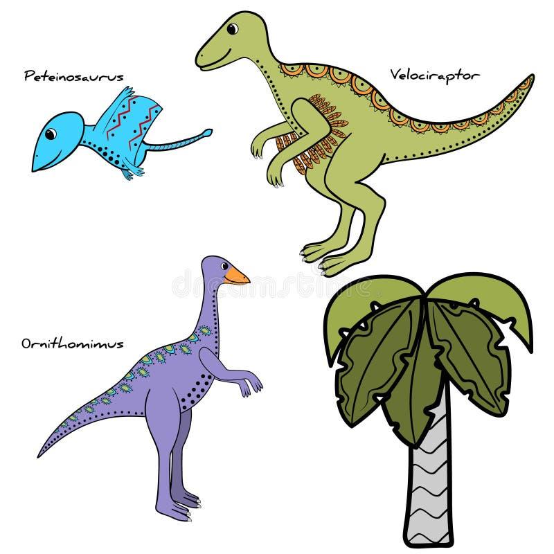 套风格化恐龙和树 皇族释放例证