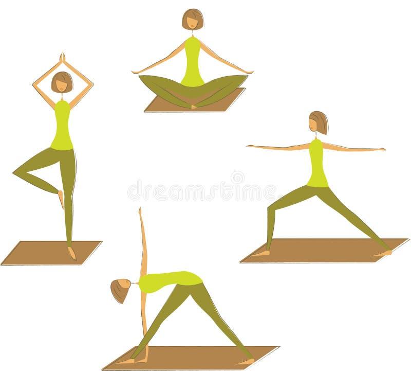 套风格化瑜伽姿势。 库存例证
