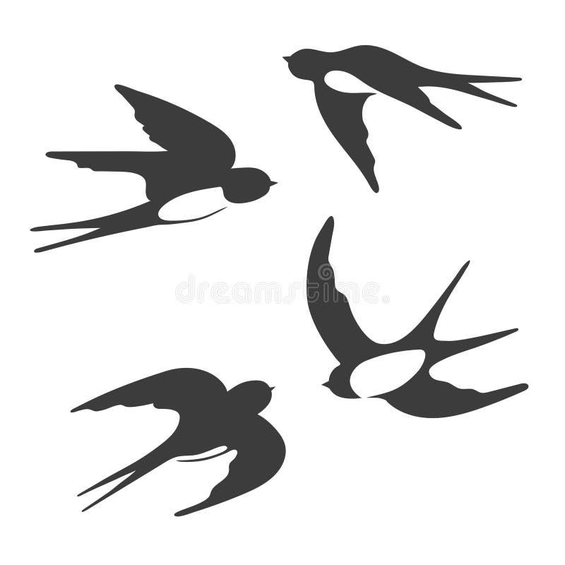 套飞行燕子剪影  向量例证