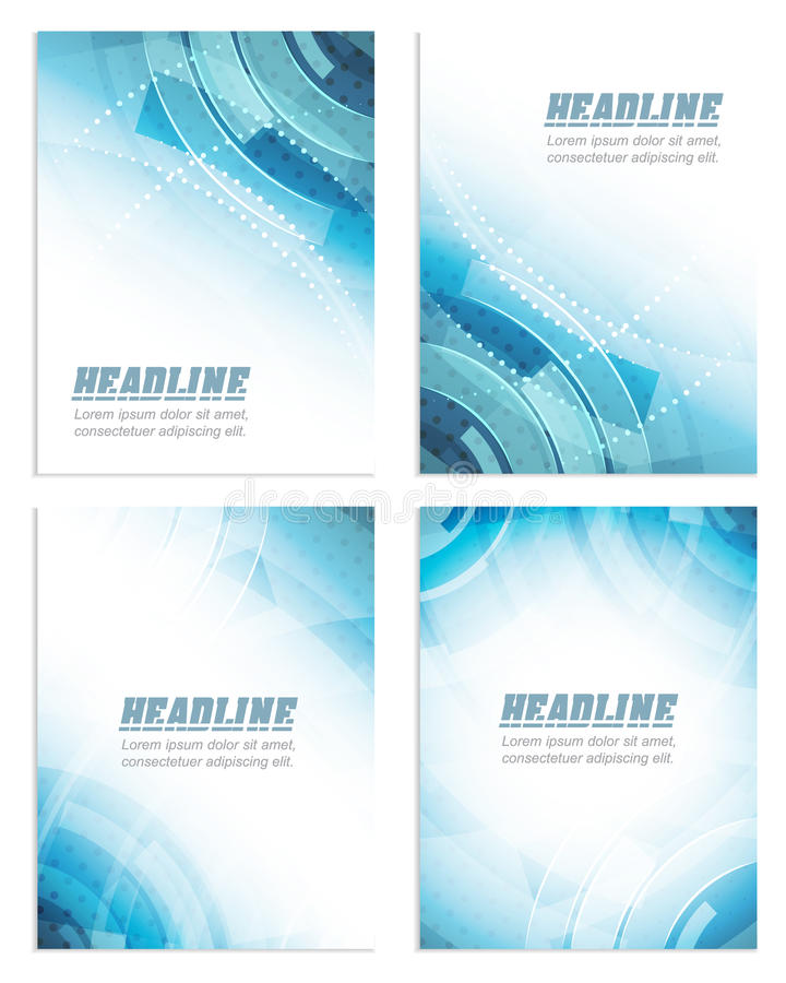 套飞行物或小册子模板,公司横幅,抽象技术设计 皇族释放例证
