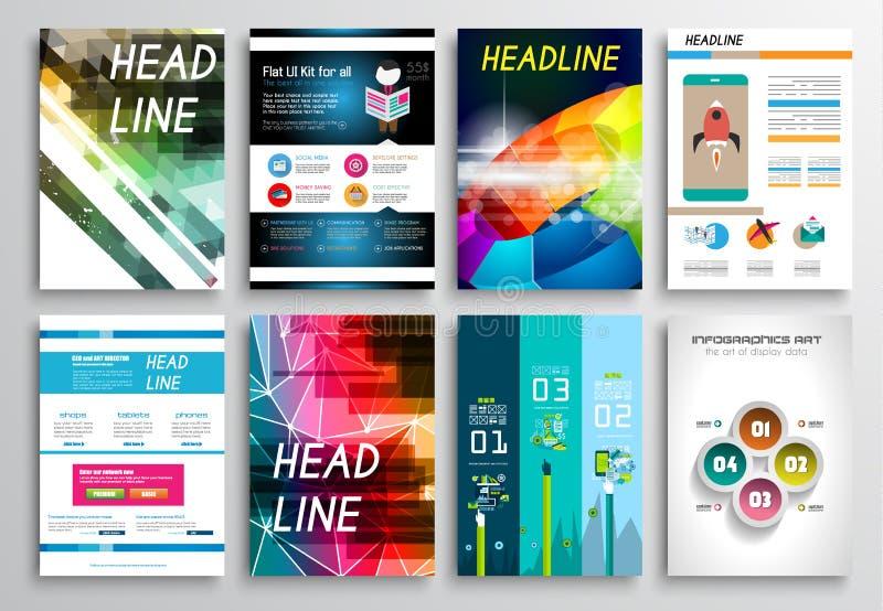 套飞行物设计,网模板 小册子设计, Infographics背景 库存例证
