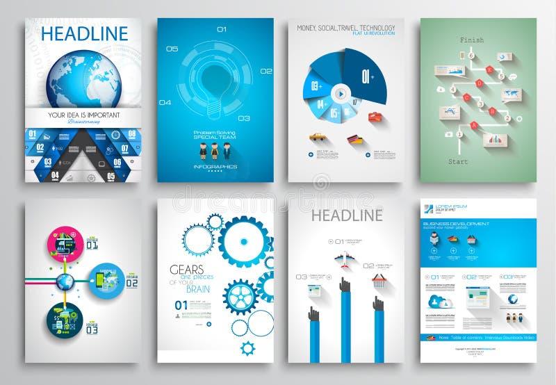 套飞行物设计,网模板 小册子设计 向量例证
