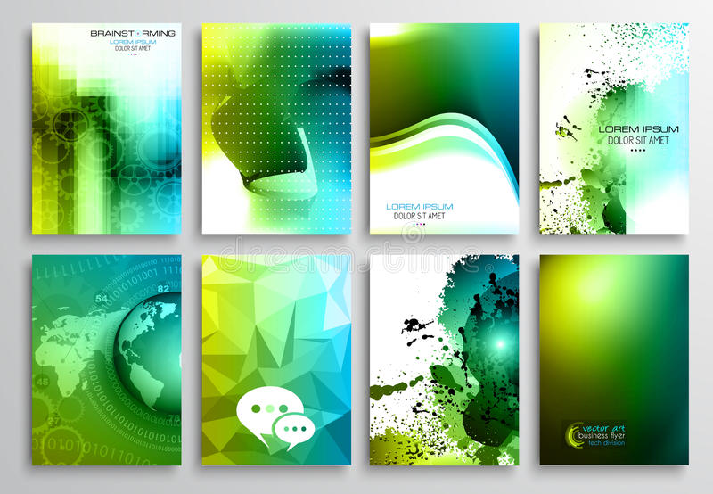 套飞行物设计,网模板 小册子设计 库存例证