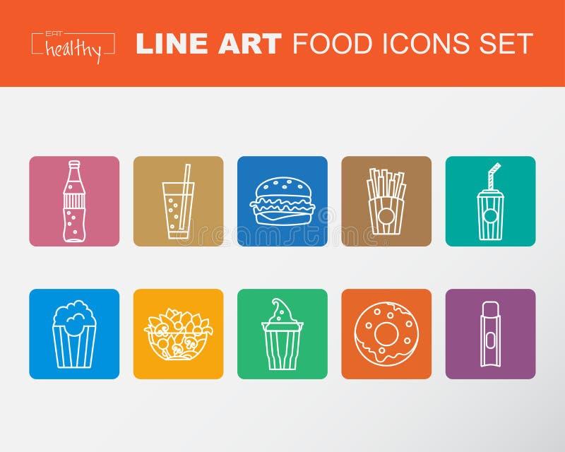 套食物象,稀薄的线型,平的设计, 库存例证