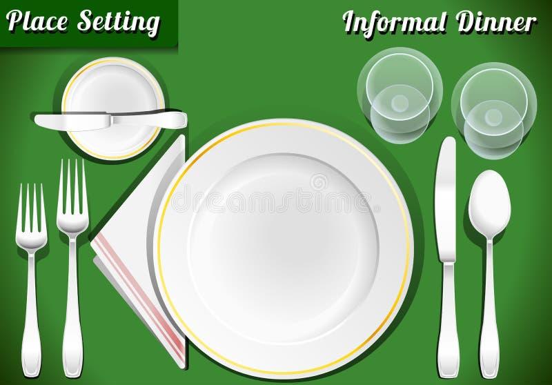 套餐位餐具不拘形式的晚餐 向量例证