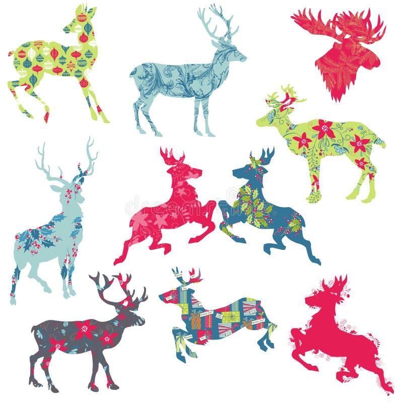 套驯鹿圣诞节Sillhouettes 向量例证