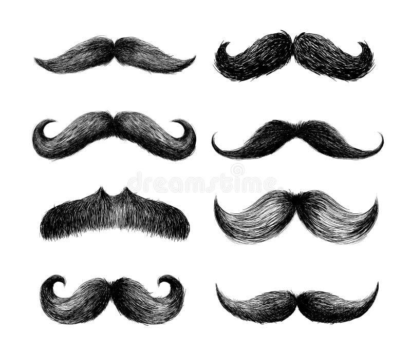 套髭 理发店或髭狂欢节的手拉的黑髭 图画要素自然徒手画风格化 也corel凹道例证向量 查出 皇族释放例证