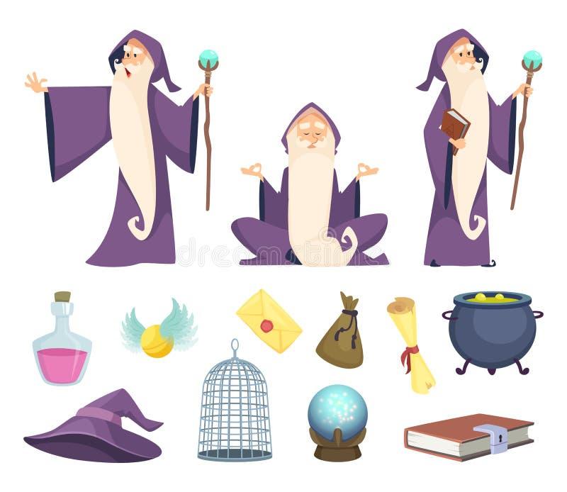 套魔术师工具和男性巫术师字符 在白色背景隔绝的传染媒介图片 皇族释放例证