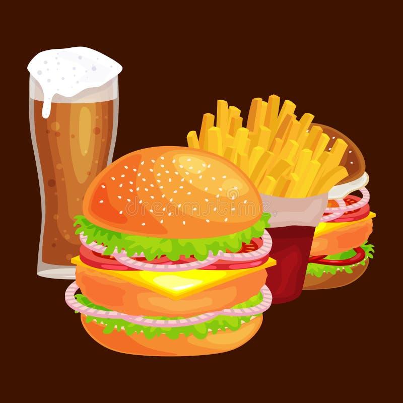 套鲜美汉堡烤了牛肉和新鲜蔬菜穿戴用快餐的,美国汉堡包快餐调味汁小圆面包 库存例证