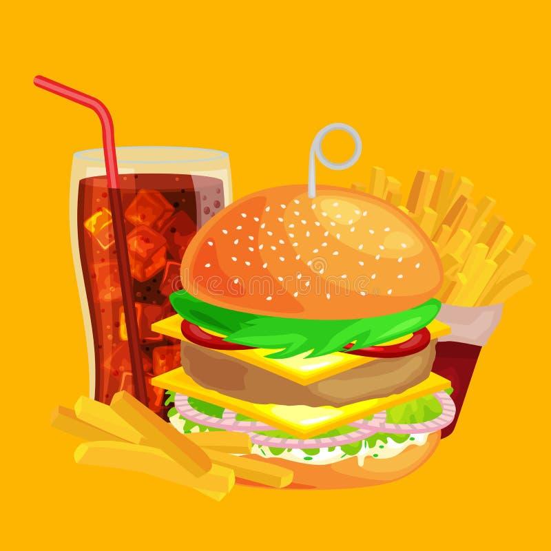 套鲜美汉堡烤了牛肉和新鲜蔬菜穿戴用快餐的,美国汉堡包快餐调味汁小圆面包 向量例证