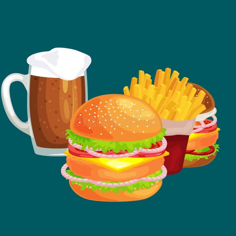 套鲜美汉堡烤了牛肉和新鲜蔬菜穿戴用快餐的,美国汉堡包快餐调味汁小圆面包 皇族释放例证
