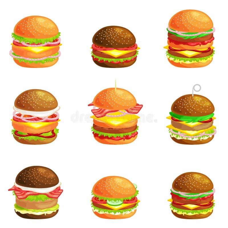 套鲜美汉堡烤了牛肉,并且新鲜蔬菜穿戴用在小圆面包的调味汁快餐或午餐的,汉堡包是 库存例证