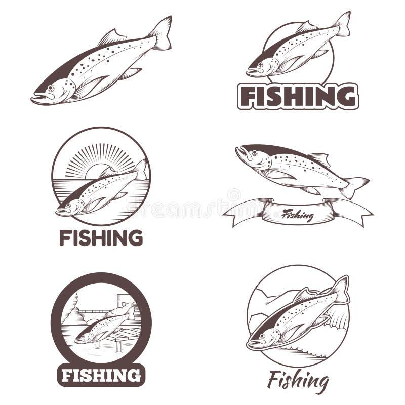 套鳟鱼横幅 向量例证